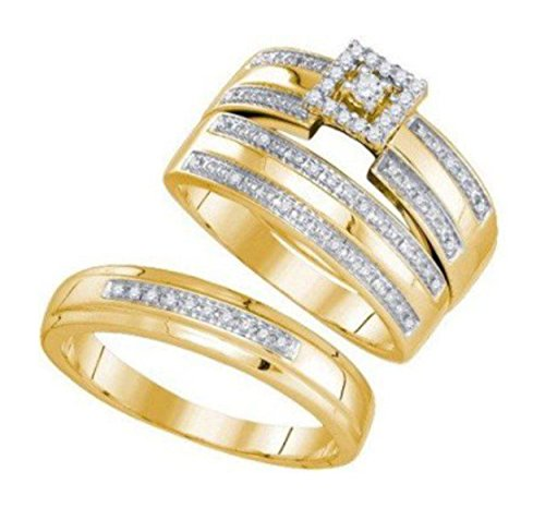 Closeout: 0.23 cttw 10k Yellow Gold Diamond His and Hers Rings For Couples 3 Piece Bridal Ring Set