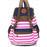 Marrywindix Unisex Canvas Backpack School Bag Vintage Stripe College Laptop Bags Rucksack for Teens Girls Boys Students Outdoor Travel Pink