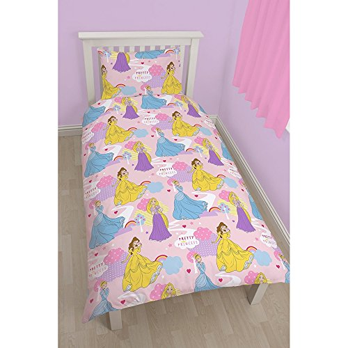 Disney Princess Official Childrens Girls Enchanting Single/Twin Bedding Set (Twin) (Pink) (Twin Girl Costumes)