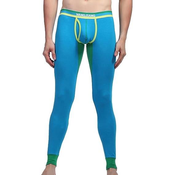 Honghu Algodón Térmicos Pants Long Johns Ropa interior Leggings Hombre Tamaño L Cielo Azul
