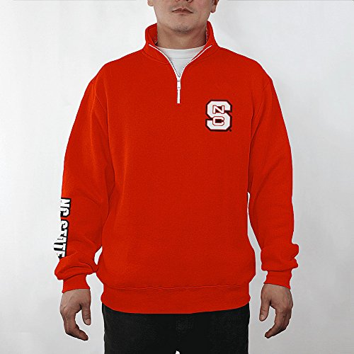 (Elite Fan Shop NCAA North Carolina State Wolfpack Men's Quarter Zip Sweatshirt Team Applique Icon, Red,)