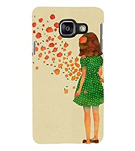 Printvisa Premium Back Cover Green Dress Girl Admiring Flowers Design for Samsung Galaxy A3 (2016)::Samsung Galaxy A3 (2016) Duos with Dual-SIM Card Slots