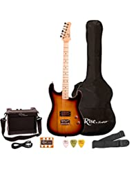 Rise by Sawtooth ST-RISE-ST-3/4-SB-KIT-1 Electric Guitar Pack...