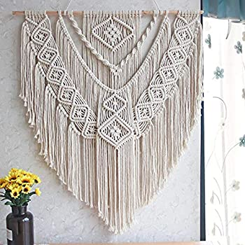 LSHCX Macrame Wall Hanging Driftwood Decor Boho Woven Home Decoration for Bedroom Living Room Gallery Perfect Handmade Gifts, 23.6