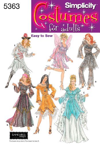 Simplicity Elaine Heigl Designs Easy-to-Sew Pattern 5363 Misses Costumes for Adults, Sizes 14-16-18-20