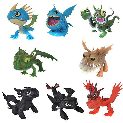 How To Train Your Dragon 8pcs/set PVC Action Figures Toy Doll Night Fury Toothless Anime Movie Dragon Figure Set