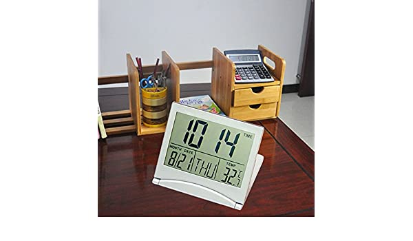 Amazon.com: Kangkang@ Portable Travel Folding Thin LCD Display Electronic Digital Desk Table Alarm Clock reloj despertador wekker Calendar Thermometer ...
