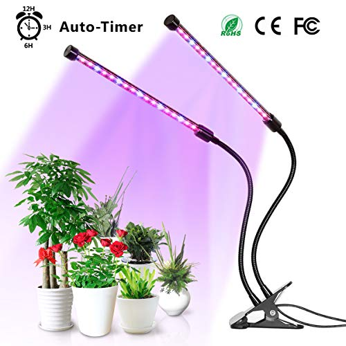 Grow Light, YUNLIGHTS Plants Light with Timer, Auto Turn On, 5 Levels Brightness, 360 Degree Adjustable for Indoor Plants, Succulents, Hydroponics, Greenhouse, Garden,Office, Dual Head