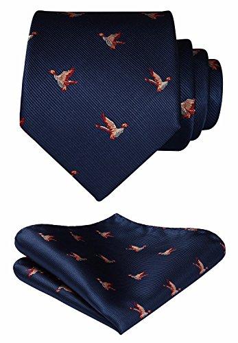 HISDERN Birds Tie Handkerchief Prom Party Men's Necktie & Pocket Square Set Navy Blue/Orange