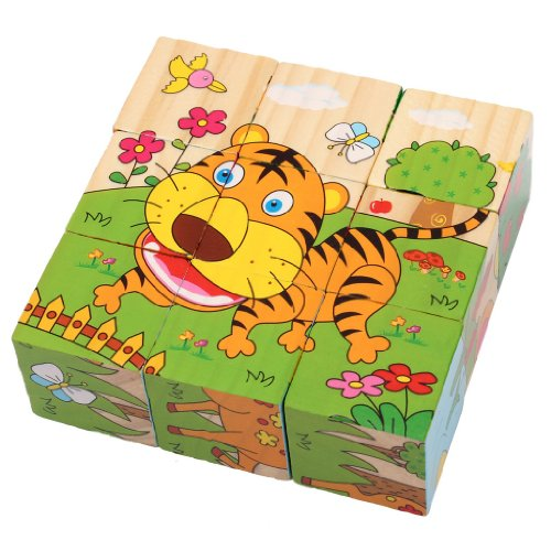 Wooden Forest Animals Block Puzzle with 6 Different Puzzle Pictures - 9 Pcs
