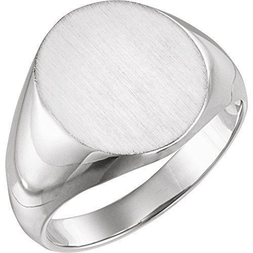 Jewels By Lux 14k White Gold 16x14mm Solid Oval Men's Signet Ring - Mens Solid Oval Signet Ring