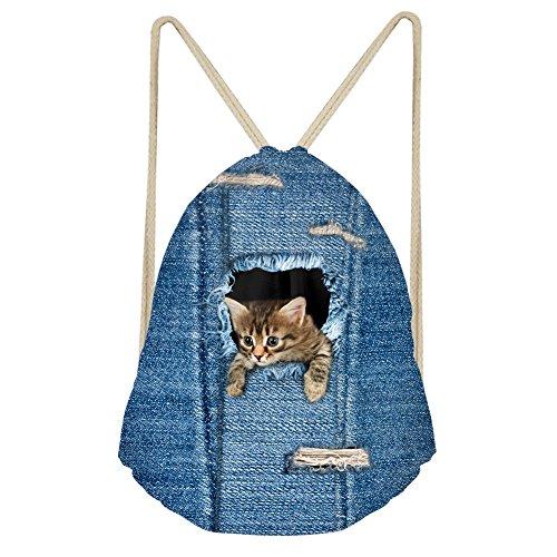 HUGS IDEA Denim Cat Design Cute Drawstring Bags Cinch Sack Bag Lightweight Sackpack for Gym Travel Shopping School