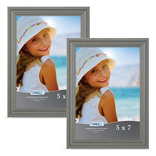 (Icona Bay 5x7 Picture Frames (2 Pack, Oyster Gray) Gray Picture Frame Set, Wall Mount or Table Top, Set of 2 Inspirations)
