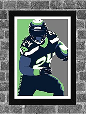 Seattle Seahawks Marshawn Lynch Portrait Sports Print Art 11x17