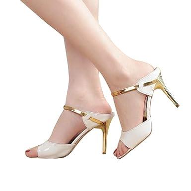 1694d7e556e6a ... De Plano para Mujer Damas Sandalias Tobillo Tacones Altos Block Party  Zapatos De Punta Abierta Zapatos De Playa Absolute  Amazon.es  Ropa y  accesorios