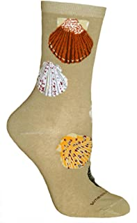 product image for Seashells on Sand Ultra Lightweight Cotton Crew Socks - Made in USA