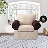 KOBWA Spandex Armrest Stretch Fabric Anti-Slip Stretchable Recliner Arm Covers Furniture Protector 1 Pair with 10 Push Pins(Coffee)
