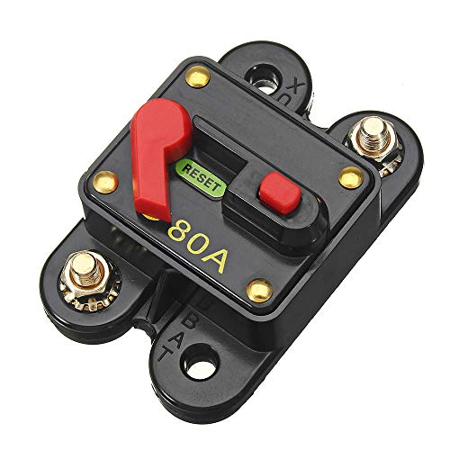 Walmeck 12V-24V DC 80A Circuit Breaker Fuse Inverter Manual Reset Button Automobile Panel Mounting Circuit Breaker for Car Marine Boat
