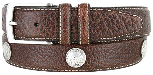 (Genuine Bison Leather Dress Belt Made in USA 1-3/8