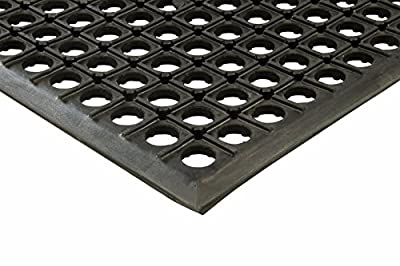 "Erie Tools 2x3 Black Rubber Drainage Floor Mat 24"" x 36"" Anti-Fatigue Anti-slip"