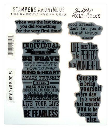 Stampers Anonymous Tim Holtz Cling Rubber Stamp Set, 7 by 8.5-Inch, Way with Words CMS-165