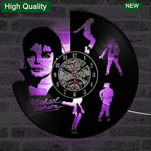 Bernhards Michael Jackson Vinyl Record Wall Clock, LED Wall Clock 3D Night Light Home Decoration Unique Gift,Black 30cm,Black
