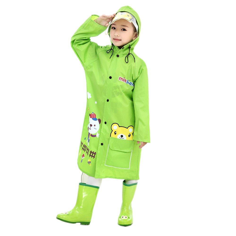 子Raincoats Men and Women Children Cartoon Raincoatsアウトドアレインコート L(Fit 2'9''~3'6'' Height) グリーン B073Z93GH1