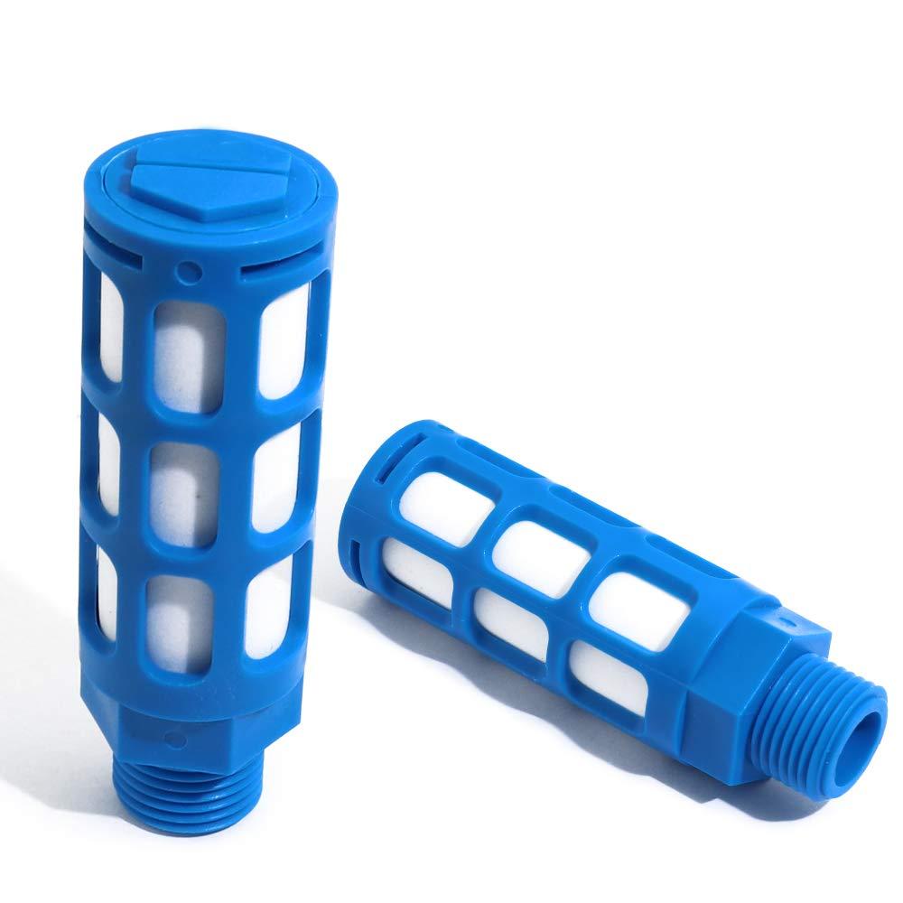 Boeary 10pcs 1//4 NPT Male Thread Blue Plastic Exhaust Noise Reducer Air Pneumatic Muffler Filter Silencer