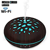Xboun Smart Wi-Fi Essential Oil Diffuser, Works with Amazon Alexa, 400ml Ultrasonic Cool Mist Aroma Humidifier, 7 Color LED Lights Wood Grain Humidifier for Home, Office, Bedroom, Babyroo - Dark Brown