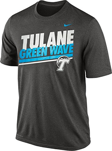Nike Tulane Green Wave Men's Double Stripe Legend Dri-FIT T-Shirt (Anthracite Gray, Large)