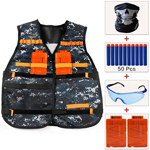 Kids Camouflage Tactical Vest Jacket Kit (with 50pcs Blue Foam Darts + Protective Goggles Glasses + Seamless Skull Face Mask + 2 Pcs 5-dart Quick Reload Clip) for Nerf Toy Gun N-strike Elite (Camouflage Vest)