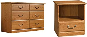 Sauder Orchard Hills Dresser, Carolina Oak Finish & Orchard Hills Night Stand, Carolina Oak Finish