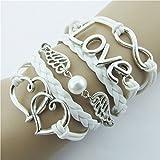 Willsa Fashion Double Love Hearts Design Faux Leather Cute Charm Bracelet Silver