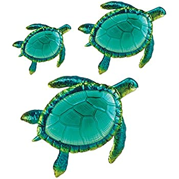 Bon Comfy Hour Coastal Ocean Sea Turtles Wall Art Decor Set (3 Pieces   Large)