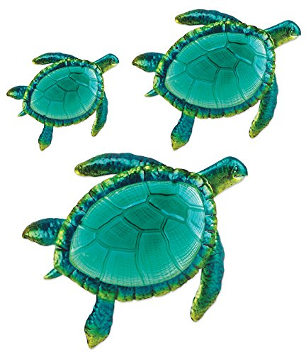 3 Large Wall Accent - Comfy Hour Coastal Ocean Sea Turtles Wall Art Decor Set (3 Pieces - Large), Green