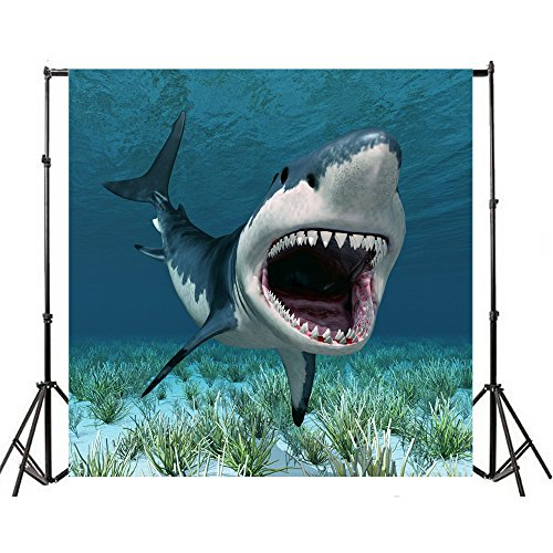 Yeele 4x4ft Vinyl Shark Backdrops Underwater World Background Aquarium 3D Great White Shark Under The Sea Ocean Cartoon Backdrop for Photography Boy Kid Happy Birthday Party Photo Shoot Studio Props