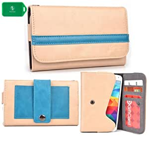 EXCLUSIVE * UNISEX * SMARTPHONE HOLDER WITH INTERNAL CARD SLOTS- ADDED BELT LOOP FOR EASY CARRYING- - CREAM BEIGE/TEAL - FITS ZTE Avid 4G