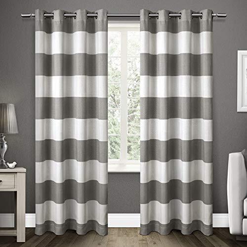 Monica Cabana Stripe Window Curtain Panel Pair with Grommet Top 54x96 Black Pearl 2 Piece ()
