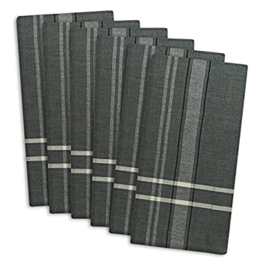DII 100% Cotton, Oversized Basic Everyday 20x20  Napkin Set of 6, Gray Chambray French Stripe