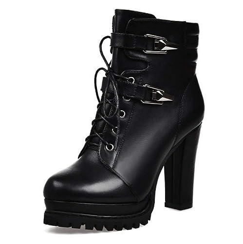 Damas para Mujer Bloque Tacones Gruesos Botines Occidentales PU Plataforma De Cuero con Cordones Cremallera Agarre Suela Botines Zapatos: Amazon.es: Zapatos ...
