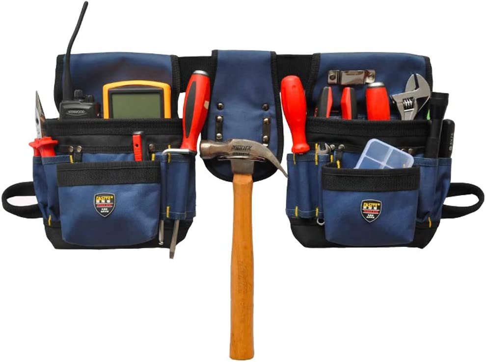 BAIGIO Bolsa de Herramientas con Cintur/ón de Nylon Ajustable Bolsa Bandolera Multifuncional para Electricista del Organizador del Sostenedor Bolsillo Porta Herramientas Azul