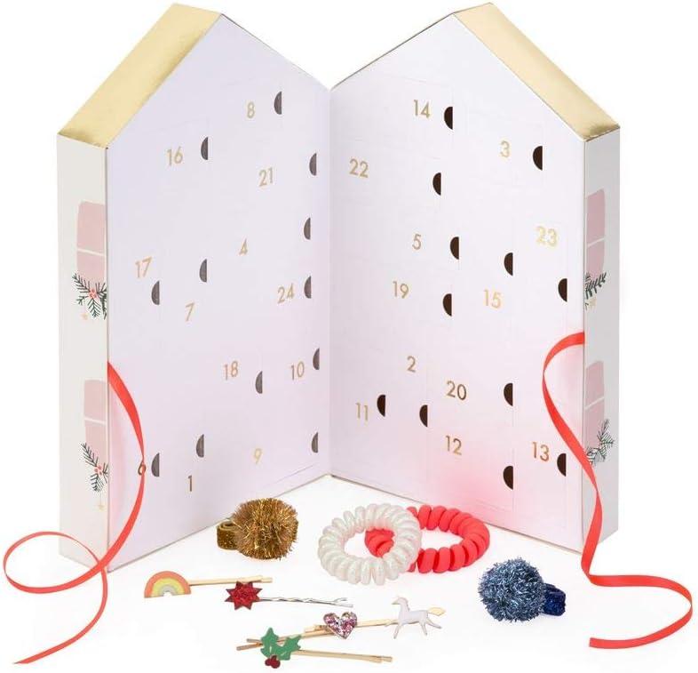 Adventskalender für Mädchen mit Accessoires für die Haare. 24 Haarnadeln & Haargummies in einer hübschen Box zum Aufstellen.
