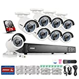 Annke 8CH POE Security Camera System with 8x 2.0 Mega-Pixels Day/Night Vision CCTV Cameras and 6.0MP High Definition Real-time Live Viewing NVR (2TB HDD)