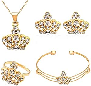 Set of 4 pieces necklace, bracelet, earring and ring, golden crown with zircon Beads