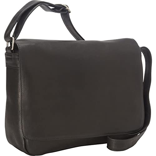 a71e22ed6d Royce Leather Vaquetta Shoulder Bag With Flap (Black) (10H x 4W x 13D