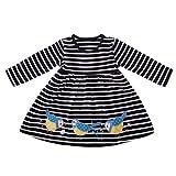 Eocom Little Girls Soft Summer Cotton Short Sleeve Dresses T-Shirt Casual Cartoon Dress for Kids (Bird, 5T)