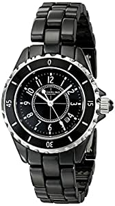Stuhrling Original Women's 530.11OB1 Fusion Quartz Date Black Ceramic Watch