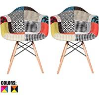 2xhome - Set of Two (2) - Multi-color – Modern Upholstered Eames Style Armchair Fabric Chair Patchwork Multi-pattern Light brown Natural Wood Leg Dining Room Chair With Arm