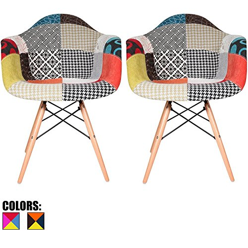 2xhome - Set of Two (2) - Multi-color – Modern Upholstered Eames Style Armchair Fabric Chair Patchwork Multi-pattern Light brown Natural Wood Leg Dining (Style Fabric Upholstered Chair)
