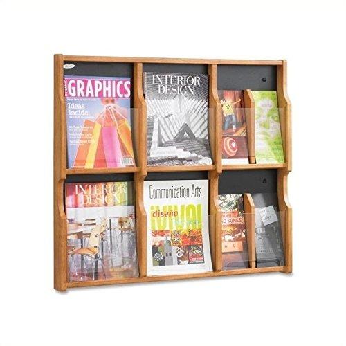 Safco Products 5703MO Expose Literature Display, 6 Magazine 12 Pamphlet, Medium Oak/Black